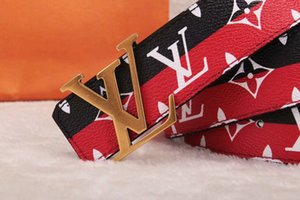 2020 new fashion versatile red and green ribbon double belt buckle ladies black leather smooth buckle