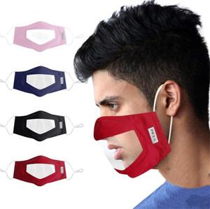 Sordomuda Máscara de PVC máscaras transparentes color sólido impresión Ajuste de máscaras civiles labio lavable Earloop cara de respiración Máscara DHB262