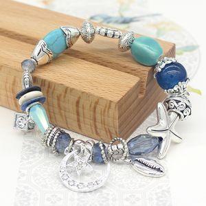 de lujo al por mayor de joyería de diseñador de las mujeres pulseras cuentas de piedras naturales encanto seriales mar Pulsera heló hacia fuera la pulsera NE983-2