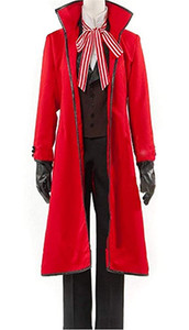 Black Butler Grell Sutcliff Halloween Red Cosplay Costume Uniform Suit