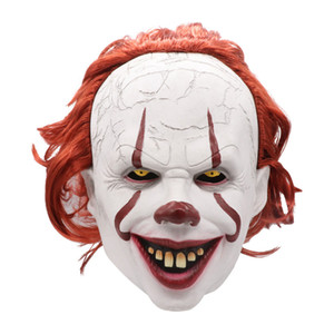 Silicone Movie Stephen King's It 2 Joker Pennywise Mask Full Face Horror Clown Latex Mask Halloween Party Horrible Cosplay Prop Masks