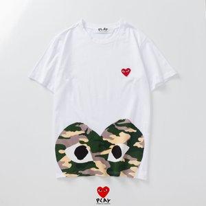 Hombre de alta calidad diseñador de camisetas CDG juego rojo camisetas del corazón bordado de verano para mujer hombre vetements verano