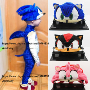 Costumi cappello della peluche Sonic X FS Sonic The Hedgehog Fleece Cosplay Anime della protezione del Beanie Nero Blu For Kids adolescenti adulti