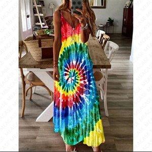 S-5XL Women Designer Summer Dress Tie Dye Whirlpool Print Long Mxi Dress Sleeveless Adjustable Strap BOHO CHIC Beach Dress Overall D7104