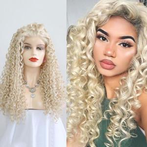 QUINLUX WIGS atado frente del cordón peluca sintética Rubia platino fibra de calor pelucas cosplay rizadas medias manos del pelo para las mujeres
