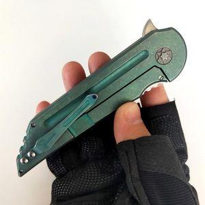 Version limitée de personnalisation Kwaiback couteau pliant lame S35VN poignée verte titane Outils de chasse parfait Camping EDC Couteaux tactiques