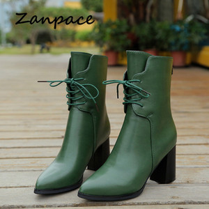 Pointed Toe Women's Boots Green Plush Ankle Keep Warm Winter Boots For Women Autumn High Heel Metal Zipper Leather Boots Women V191217
