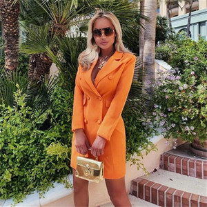 Double Breasted Womens Designer Blazers Lapel Neck Slim Office Lady Clothes Summer Female Solid Color Coat