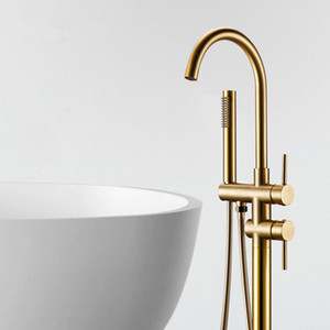 Matt Gold Burnish Bathroom Tub Sink Faucet Floor Mount Bathtub Mixer Tap Solid Brass Set Free Standing Hot and Cold Bath
