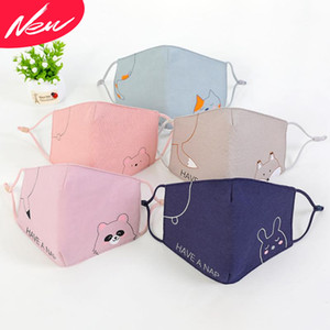 In stock Cute Children Anti-pollution new fashion Masks cartoon Boys Girls Mouth Face Masks Kids Breathable Earloop Reusable Cotton Mask
