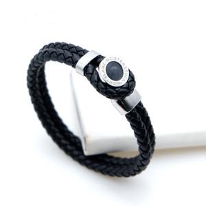 neue Art gesponnene Lederarmbänder mit Metallmagnetschnallenentwurf für Mannschwarzes Markenlogo Pulsera-Luxusarmband-feinen Schmucksachen