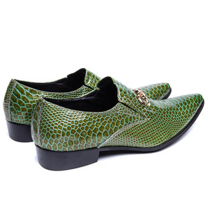 Green Genuine Leather Men Shoes Fashion Pointed Toe Slip on Men Dress male paty prom shoes Party Business Formal Shoes