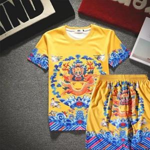 Мужские трексуиты костюмы футболки и брюки наборы Национальный китайский стиль дракона халат император печатает летний с коротким рукавом 3D футболка повседневные брюки