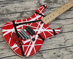 Yükseltme Büyük Headstock Eddie Van Halen 5150 Beyaz Siyah Şerit Kırmızı Elektro Gitar Floyd Gül Tremolo Kilitleme Somun, Akçaağaç Boyun Klavye