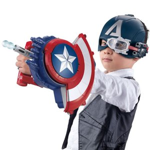 Free shipping Captain America Shield launcher Water bomb Soft bullet gun electric Burst child launcher boy toy