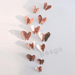 12pcs / Set 3D papillon autocollants creux papillon Art Stickers muraux Chambre Salon Décoration d'intérieur Enfants Salle de bricolage Décoration DBC BH2892