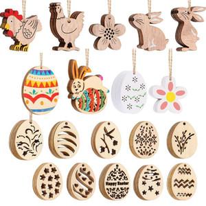 10 ADET / SET Paskalya dekorasyon malzemeleri ip kolye ev partisi dekoratif paskalya yumurtası hediye el sanatları ile DIY ahşap yonga asılı süsler