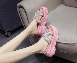 Web celebrity slippers female summer fashion wear hot style thick bottom 2020 new sponge cake pearl half drag inside heighten cool slippers