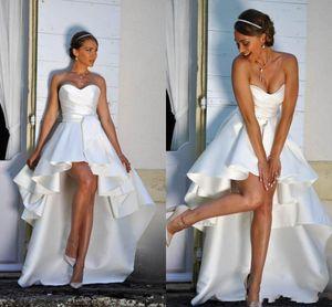 2020 Un árabe sin mangas vestidos de línea de la boda del satén del amor de los marcos acanalada Abiertos atractivos detrás de mayor a menor longitud de los vestidos nupciales formales simples y baratos