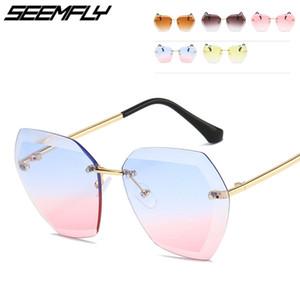 Seemfly bambini Shades occhiali senza montatura degli occhiali da sole per bambini delle ragazze dei ragazzi del metallo di modo Lenti incolori Occhiali da sole 2019 UV400 Eyewear
