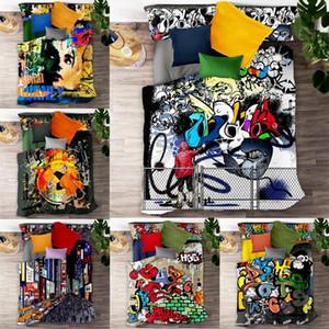 3D Hip-hop graffiti Imprimé Ensemble de literie Adulte Enfants populaire Housse De Couette Taie D'oreiller Lits Complet Reine roi lit draps