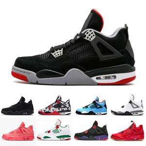 Nike Air Jordan 4 Erkek Basketbol Ayakkabı J4 4 s Beyaz Çimento Getirdi Yangın Kırmızı Spor Sneakers Jack Üniversitesi Mavi Trail Yürüyüş Koşu ayakkabısı