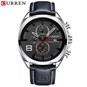 Correa de los hombres relojes de primeras marcas CURREN de cuero de lujo del cuarzo del deporte del cronógrafo de los hombres Reloj Militar reloj impermeable Relogio Masculino