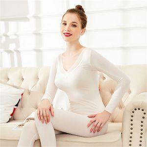 Fashion Sexy Deep V-Neck Lace Striped Women's Thermal Underwear Set Thin Basic Winter Warm Pajamas Slim Body Female Second Skin