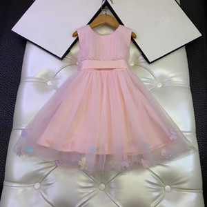 European and American children's wear 2020 summer new style Sleeveless bead pink gauze baby Girl's dress