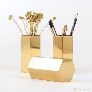 Altıgen Kalem Tutucu Paslanmaz Çelik Depolama Kavanoz Altıgen Çiçek Makinesi Golden Flower Vazo Metal Saklama Kutusu Ana Organizatör
