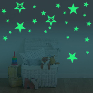 Desenhos animados Luminous Estrelas quarto adesivo de parede combinação sala de decoração kids room Glow in the dark decalques Adesivos