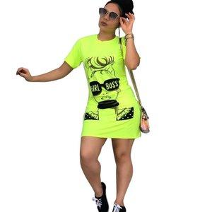 Con mano de gafas de sol chica cabezal de impresión señoras de la manera diseñador se viste camiseta vestidos de moda para el verano mujeres ocasionales