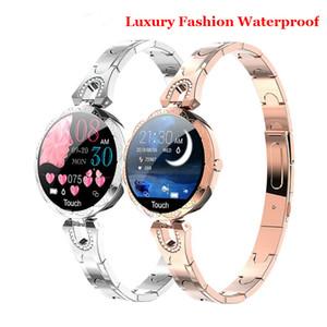 Las mujeres pulsera de mujer inteligente reloj de señoras de moda de lujo Bluetooth pulsera de sangre a prueba de agua rastreador de ejercicios pulsera de cristal del reloj AK15