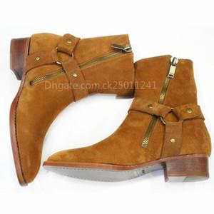 El diseñador de moda de marca Cadenas de gamuza de cuero Arnés Hombres Botas Stacked Heel Boots Anke cremallera lateral de los hombres de moda Chelse Botas Hombre Zapatos CK01