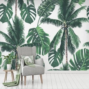 Background Drop Shipping foto feita Wallpaper Tropical Big Tree Leaves Flora Floresta pluvial Wall Decoração Mural Wallpaper