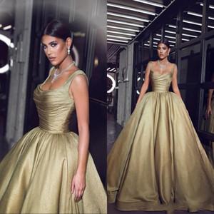 Said Nuevo 2019 Vestidos de noche Vestidos de famosos Vestidos de gala Correas de espagueti Plisados Volantes Fiesta larga Vestidos Árabe BC0859