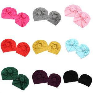 Kız bebekler Katı Caps Şeker Renk Ebeveyn-çocuk Şapka Tasarımcı Anne Çocuk Açık Autaum Bebek Cap Hint Bonnet Kadınlar Müslüman Hat 06
