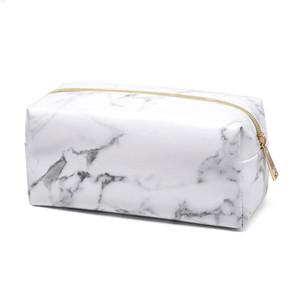 Marbleizin Makeup Bag Brushes Storage Bag PU Marble Cosmetic Case Ladies Makeup Bag Sports Team Accessories Travel Bags 10pcs lot
