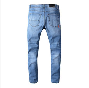 2020 New Arrival Men's Summer Jeans Fashion Print Stretch Slim Straight Jeans Zipper Fly Denim Trend Men's Casual Pants