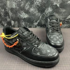 Nike Air Force1 2020 mais recente ocasional TENIS Time Low Fora Air One Utility Laranja Homens Preto Running Shoes sapatos Forças sapatilhas 1s Sports Skate