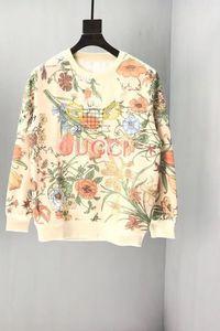 Women's Sweatshirts Cotton Loose Sweatshirt Men's Round Collar Sweater Floral Print Tennis Racket Embroidered Couple xshfbcl Tops