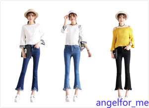 Nuevo Denim Jeans Frilly Edges Skinny Nine-Pinge de nueve puntos