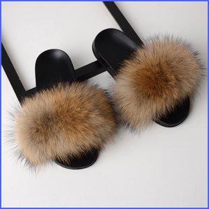 SARSALLYA Kürk Terlik Kadınlar Gerçek Fox Kürk Slaytlar Ana Kürklü Düz Sandalet Bayan Sevimli Pofuduk Ev Ayakkabı Kadın Marka Lüks 2020 T200411