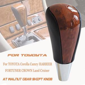 Boîte automatique Levier de vitesses Bouton bâton pour TOYOTA Corolla Camry HARRIER FORTUNER CROWN Land Cruiser Noyer Cuir Car Styling