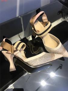 SABOTS Colibrì di 2020 nuova delle donne in rete e pelle nera sandali slingback Moda scarpe da sera casuali di formato delle donne 36-42