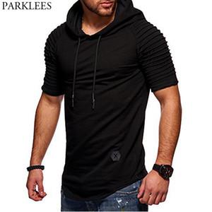 Newest Ribbed Hooded T Shirt Men Fashion Shoulder Fold Short Sleeve Hoodie Tshirt Homme Causal Slim Fit Male Hoodies T Shirt Man T200616