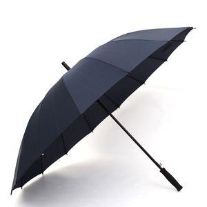 Ombrello dritto manico lungo 16K antivento colore solido pongee ombrello donna uomo soleggiato piovoso ombrello logo personalizzato DH0803