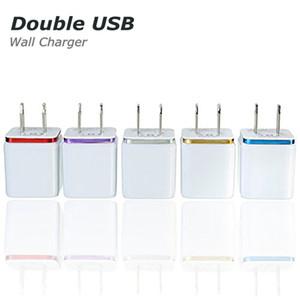 Yüksek Kalite 5 V 2.1 / 1A Çift ABD AC Seyahat USB Duvar Şarj Samsung Galaxy HTC Cep Telefonları için adaptör