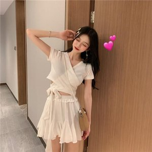 2020 New Summer Women's Clothing Suit Ladies Fashion Solid Color V Neck Shirt Tops + High Waist Short Skirt Two Pieces Set Z134