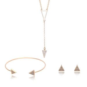 ارتفعت مجموعات المجوهرات مثلث مجموعات المجوهرات لون الذهب الأقراط والقلائد والأساور للنساء الأزياء الساخن